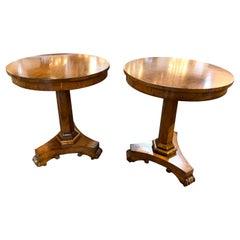 Pair of Antique Biedermeier Walnut Side Tables