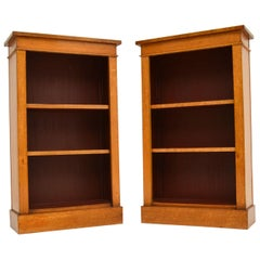 Pair of Antique Birds Eye Maple Open Bookcases