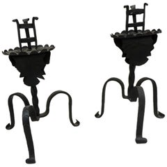 Pair of Antique Black Forged Iron Arts & Crafts Candleholders