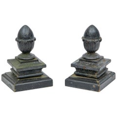 Pair of Antique Black Painted Iron Finials