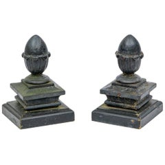 Pair of Antique Black Painted Iron Finials