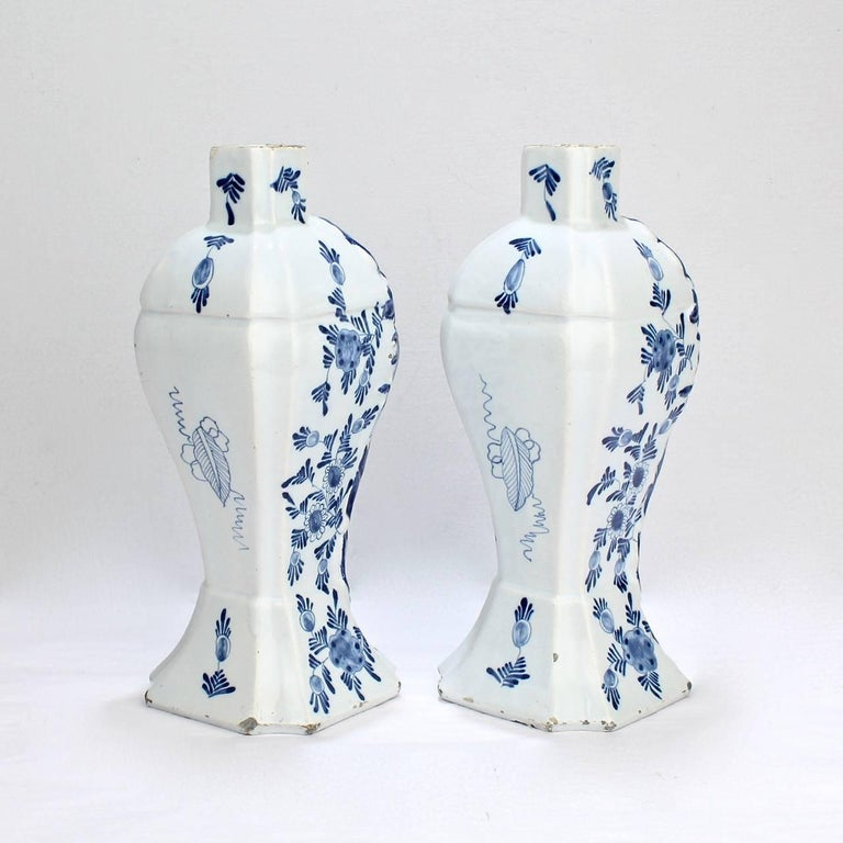 Pair Of Antique Blue And White Dutch Delft Mantel Garniture Vases Or