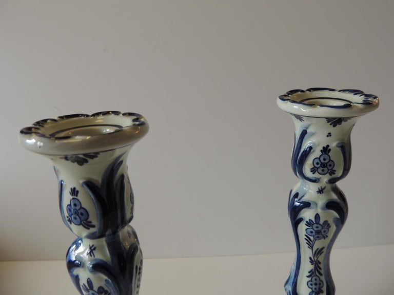 Country Pair of Antique Blue and White Delft Candlesticks For Sale