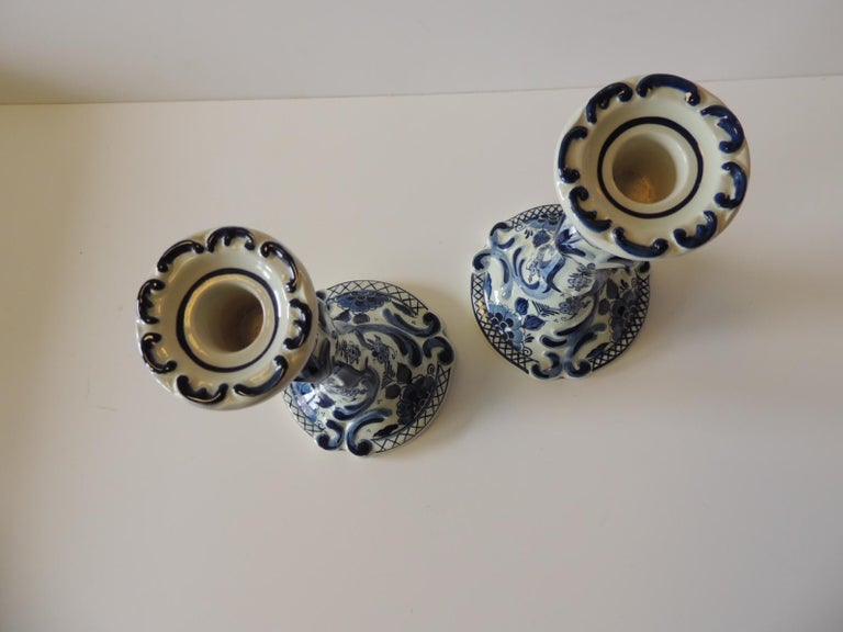 Dutch Pair of Antique Blue and White Delft Candlesticks For Sale