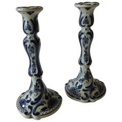 Pair of Antique Blue and White Delft Candlesticks