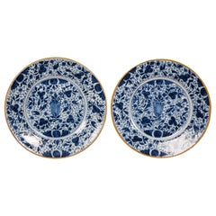 Pair of Antique Blue and White Delft Plates Made in the 18th Century