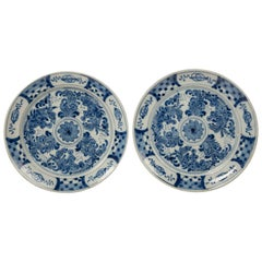 Pair of Antique Blue and White Delft Plates circa 1780