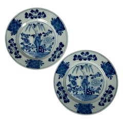 Pair of Antique Blue and White Dutch Delft Dishes Hand-Painted, Circa 1770
