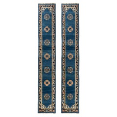 Pair of Antique Blue Gold Black Art Deco Chinese Runner Rugs, c. 1920-1930