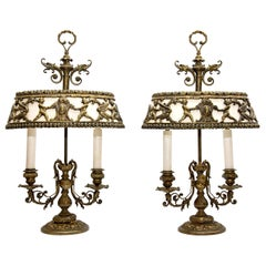 Pair of Antique Bouillotte Lamps