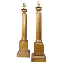 Pair of Antique Brass Column Table Lamps