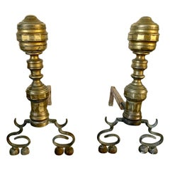 Pair of Antique Brass Empire Style Andirons