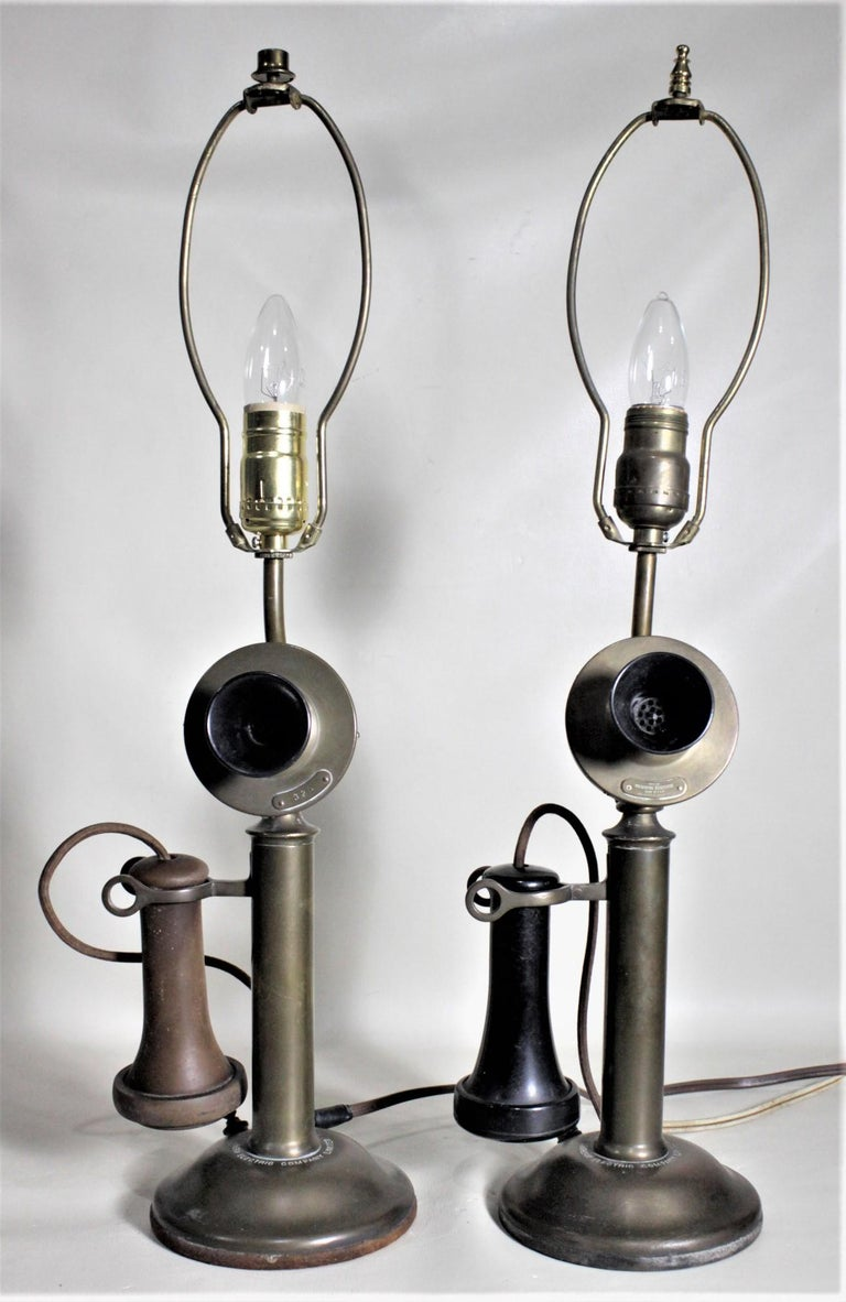 Pair of Antique Brass Northern Electric Candlestick Telephone Table Lamps For Sale 7