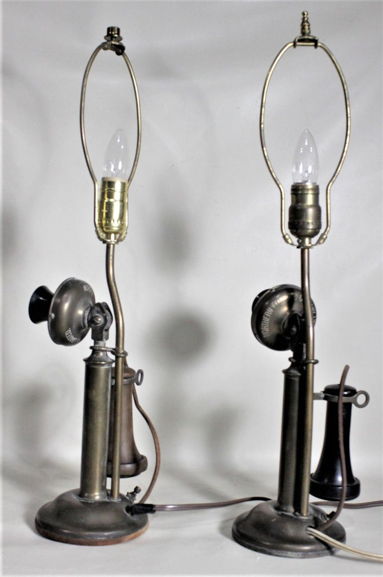 Pair of Antique Brass Northern Electric Candlestick Telephone Table Lamps For Sale 8