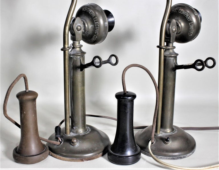 Pair of Antique Brass Northern Electric Candlestick Telephone Table Lamps For Sale 9