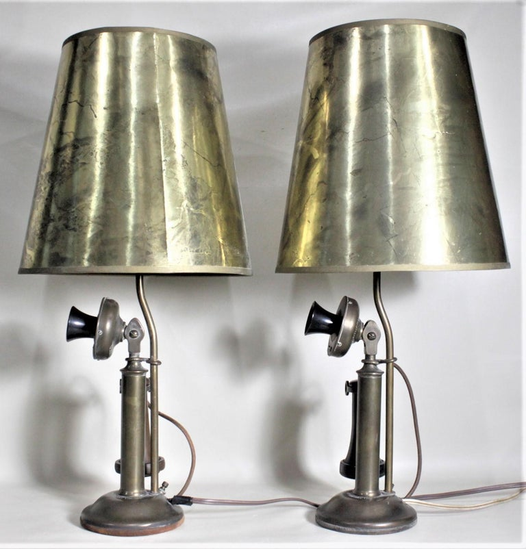 Art Deco Pair of Antique Brass Northern Electric Candlestick Telephone Table Lamps For Sale