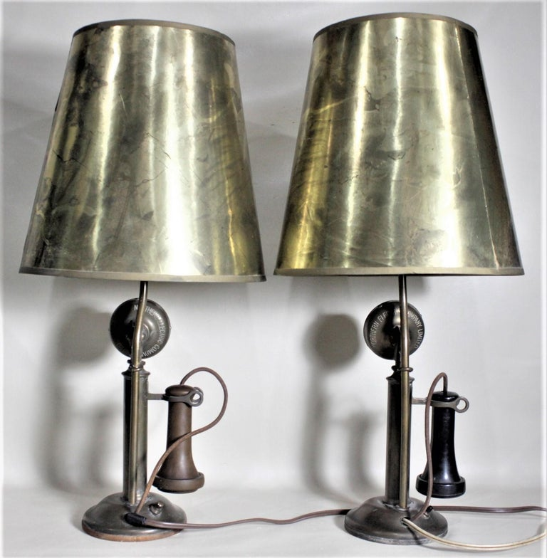 North American Pair of Antique Brass Northern Electric Candlestick Telephone Table Lamps For Sale