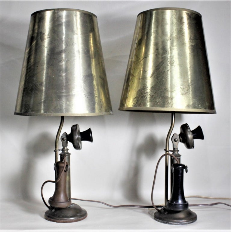 Machine-Made Pair of Antique Brass Northern Electric Candlestick Telephone Table Lamps For Sale