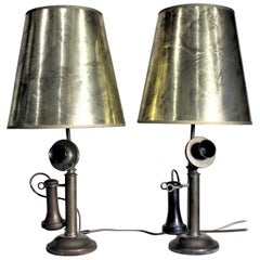 Pair of Antique Brass Northern Electric Candlestick Telephone Table Lamps