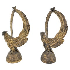 Pair of Antique Brass Plated Figural Bald Eagle Pocket Watch Stands or Bookends