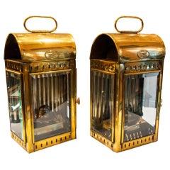 Pair of Antique Brass Ships Lanterns Signed Davey & Co. London, circa 1890-1910