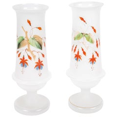 Pair of Antique Bristol Hand Painted Footed Frosted Glass Vases