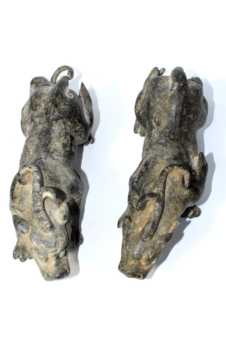 Pair of Antique Bronze Beasts, Paperweights For Sale 3