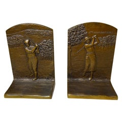 Pair of Antique Bronze Bookends of Male & Female Golfer, Judd Co. ca. 1920