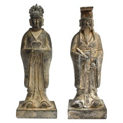 Pair of Antique Bronze Chinese Officials