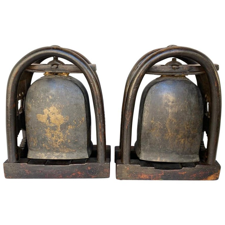 Pair of Antique Bronze Elephant Temple Bells with Gold Gilt Accents For Sale