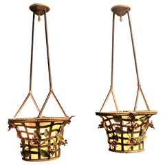Pair of Antique Bronze Figural Hanging Flower Basket Ceiling Light Fixtures