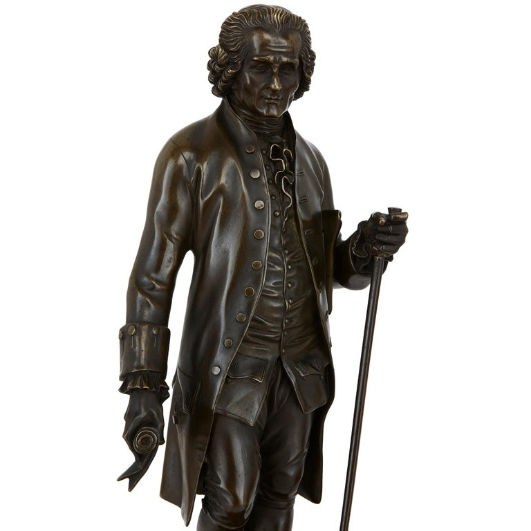 19th Century Two Patinated Bronze Sculptures of Rousseau and Voltaire after Rosset For Sale