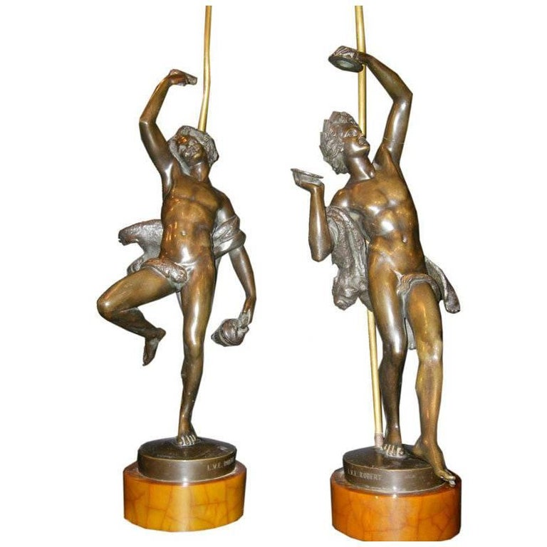 Pair of Antique Bronze Statues Mounted as Lamps
