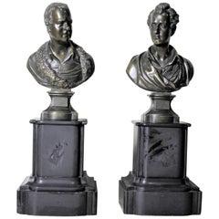 Pair of Antique Bronze Statues of Poets Robert Burns & Walter Scott