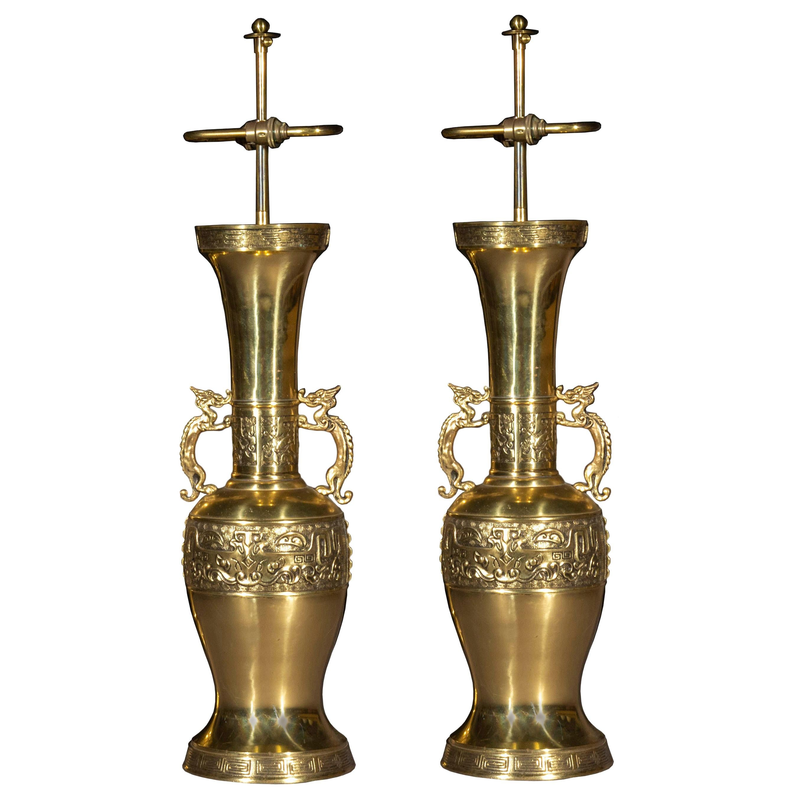 Pair of Antique Bronze Chinoiserie Table Lamps