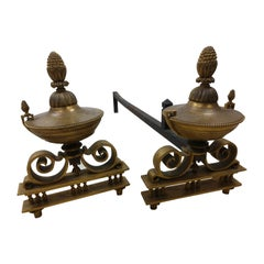 Pair of Antique Bronze Urn Form Fireplace Andirons