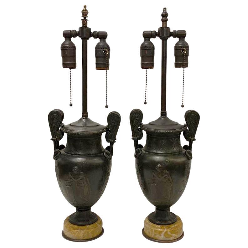 Pair of Antique Bronze Vase Lamps