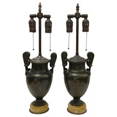Pair of Antique Bronze Vase Lamps