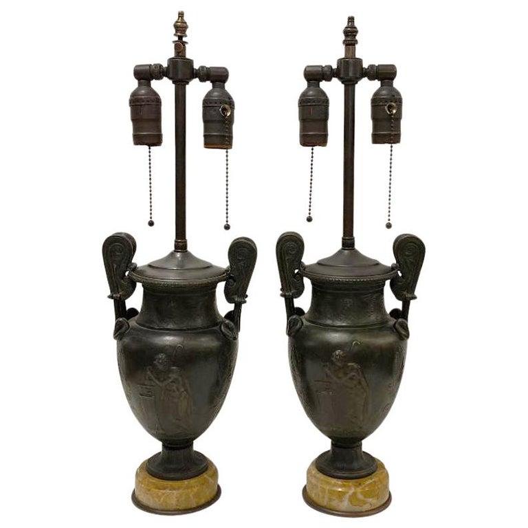 Pair of Antique Bronze Vase Lamps For Sale
