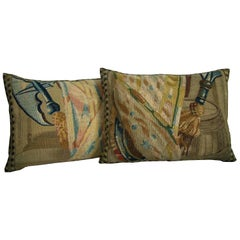 Pair of Antique Brussels Tapestry Pillows, circa 17th Century 1743p 1744p