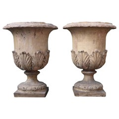 Pair of Antique Buff Terracotta Garden Urns or Planters