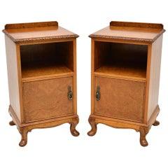 Pair of Antique Burr Walnut Bedside Cabinets