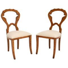 Pair of Antique Burr Walnut Biedermeier Side Chairs