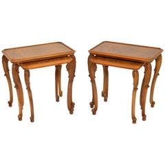 Pair of Antique Burr Walnut Nesting Side Tables