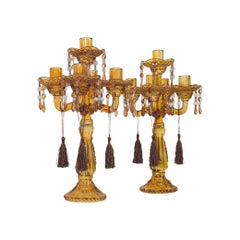 Pair of, Antique Candelabra, English, Glass, Candle Stand, Victorian, circa 1890