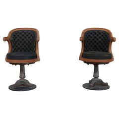 """Pair of Antique 'Captain's"""" Swivel Office Chairs '2'"""