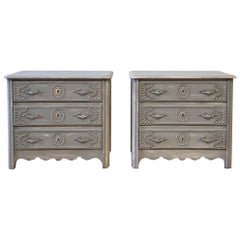Pair of Antique Carved and Painted French 3 Drawer Chests or Night Stands