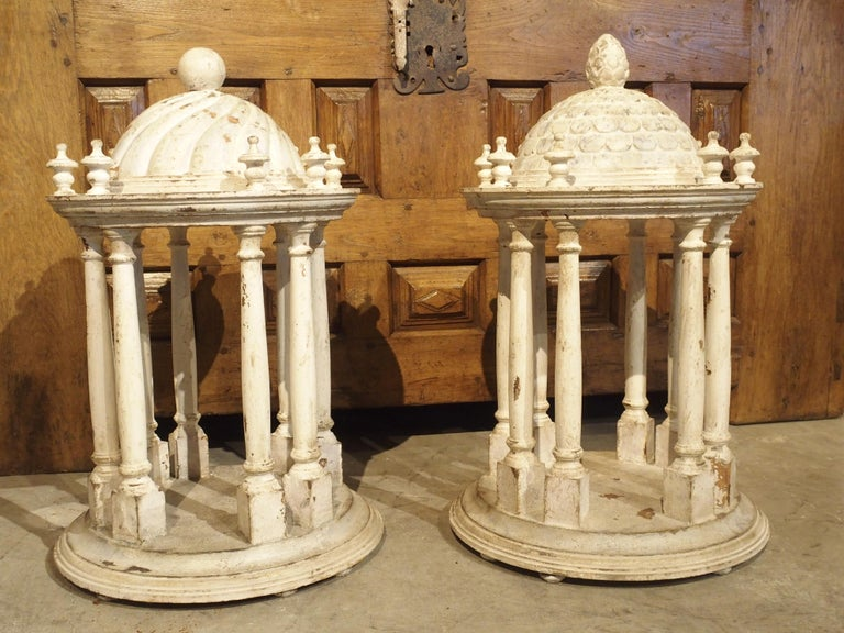 Pair of Antique Carved and Painted Wooden Grand Tour Temple Models, 19th Century For Sale 13