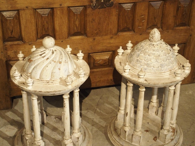 Pair of Antique Carved and Painted Wooden Grand Tour Temple Models, 19th Century For Sale 14