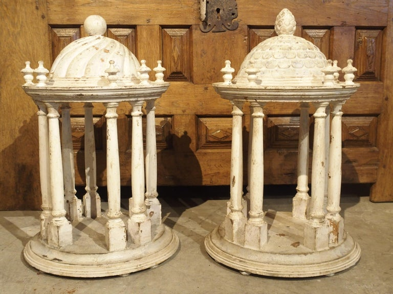 Pair of Antique Carved and Painted Wooden Grand Tour Temple Models, 19th Century For Sale 15